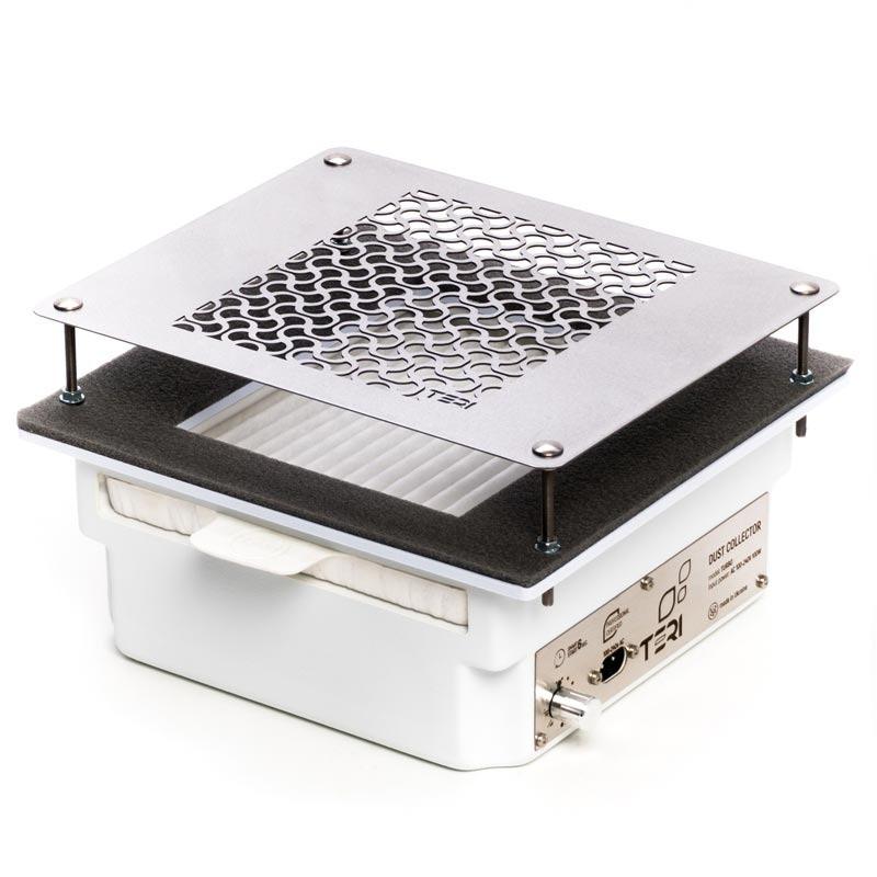 Вбудована витяжка Teri Turbo пилосос для манікюрного столу з HEPA фільтром (біла нерж. сітка з візерунком)