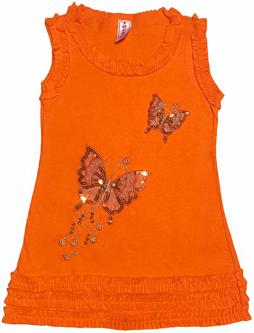Детская туника с пайетками на девочку рост 128 7-8 лет для детей нарядная красивая летняя трикотаж оранжевая