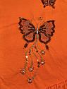 Детская туника с пайетками на девочку рост 128 7-8 лет для детей нарядная красивая летняя трикотаж оранжевая, фото 3