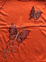 Детская туника с пайетками на девочку рост 128 7-8 лет для детей нарядная красивая летняя трикотаж оранжевая, фото 4