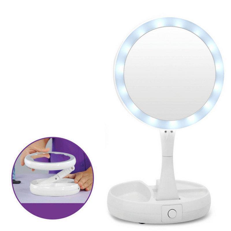 Настольное круглое зеркало для макияжа с LED подсветкой работает от батареек