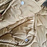 Ковдра двоспального розміру 4 сезони зима-літо 175х210 ОДА стьобана на кнопках 3 в 1, Колір - Бежевий, фото 4