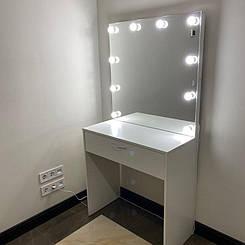 Стіл з дзеркалом. Стіл візажиста. Дзеркало перукарське. Трюмо з лампочками. Дзеркало для макіяжу