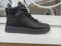 Зимние мужские кожаные ботинки на замке и шнуровка.