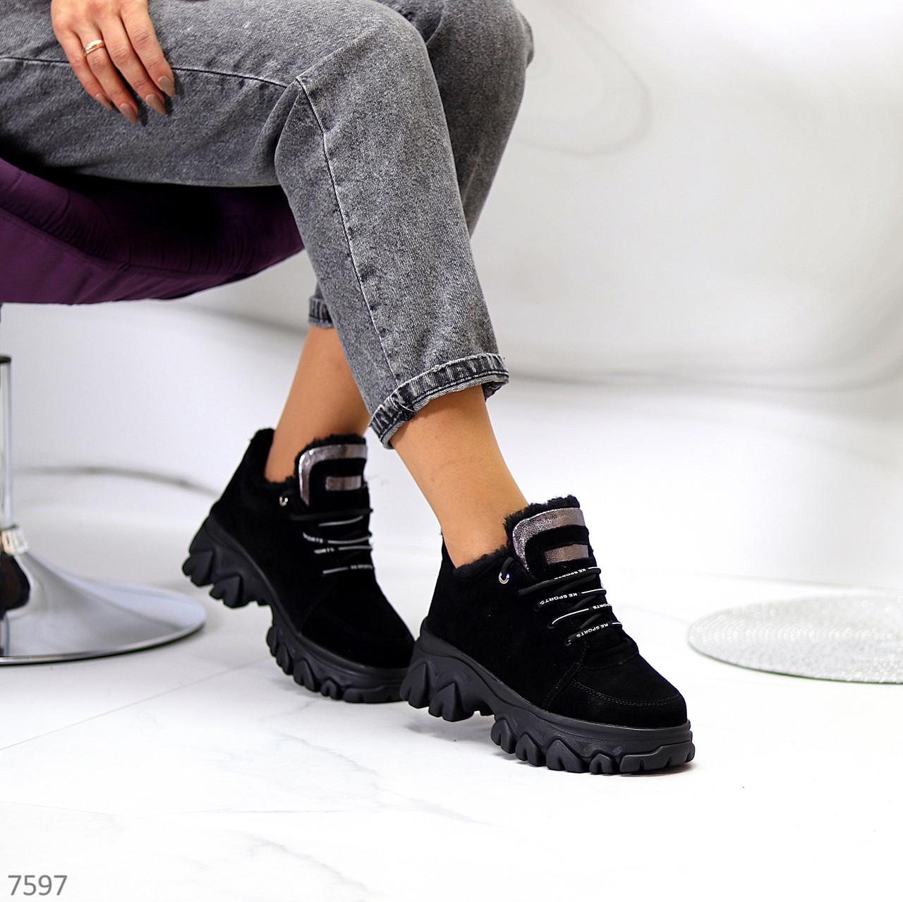 Замшеві чорні жіночі зимові кросівки снікерси натуральна замша