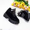 Замшеві чорні жіночі зимові кросівки снікерси натуральна замша, фото 6