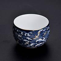 Чашка для чаепития расписная фарфор тучи с птицами 50 мл, фото 2