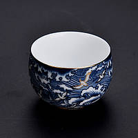 Чашка для чаювання розписна фарфор хмари з птахами 50 мл, фото 2