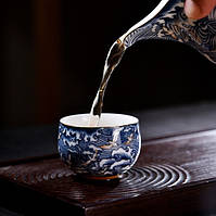 Чашка для чаепития расписная фарфор тучи с птицами 50 мл, фото 5