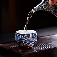 Чашка для чаювання розписна фарфор хмари з птахами 50 мл, фото 5
