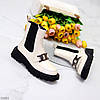 Люксовые высокие светлые бежевые женские ботинки челси с декором, фото 8