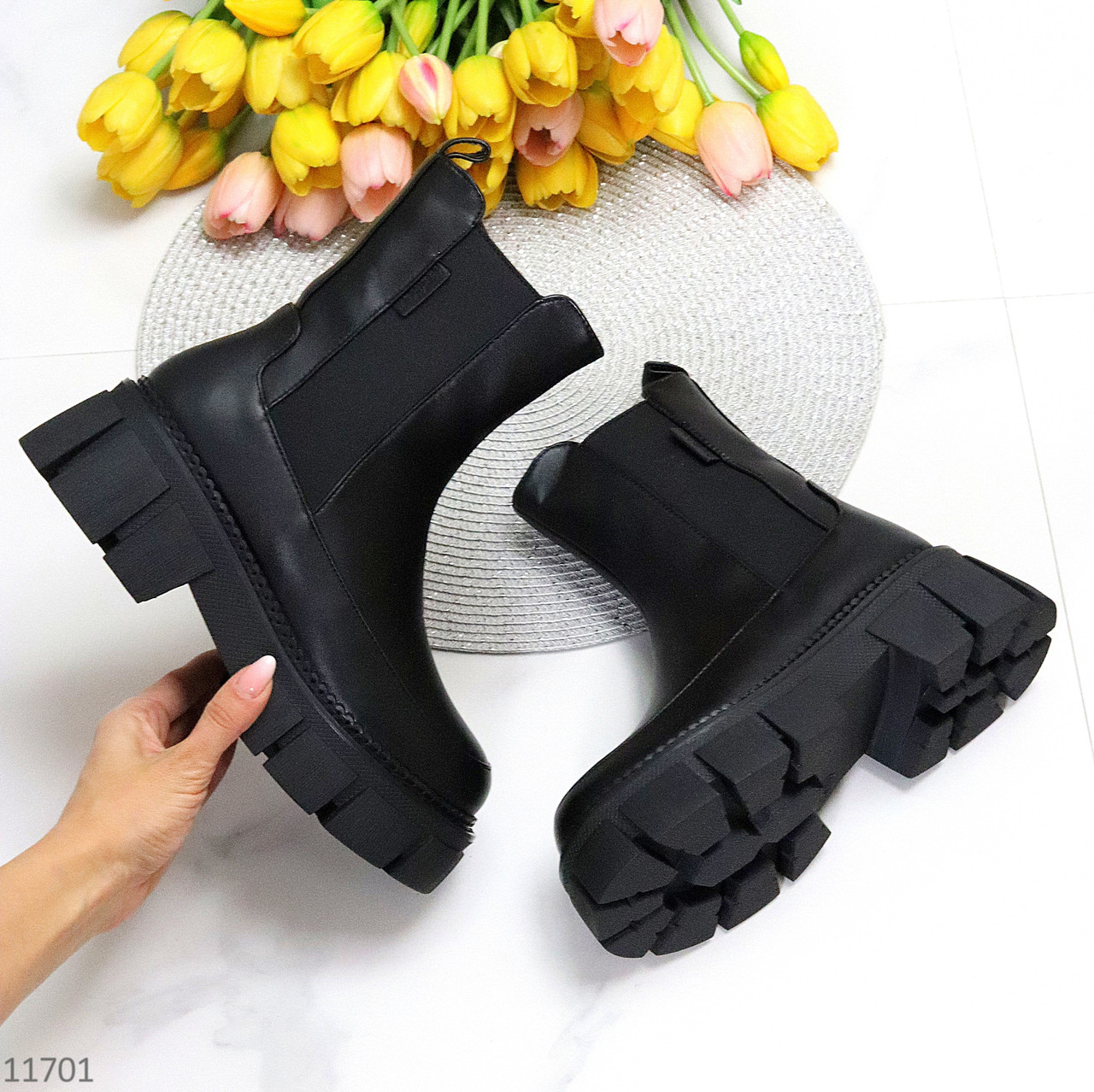Люксовые зимние высокие черные кожаные женские ботинки челси 2021