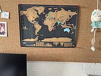 Скретч Карта мира 30*43 см с планом путешествий на обороте.