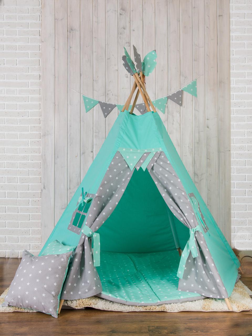 Мега вигвам Супер Мятные Звезды. Вигвам детский, детский вигвам, детский домик, детская палатка,вигвам палатка