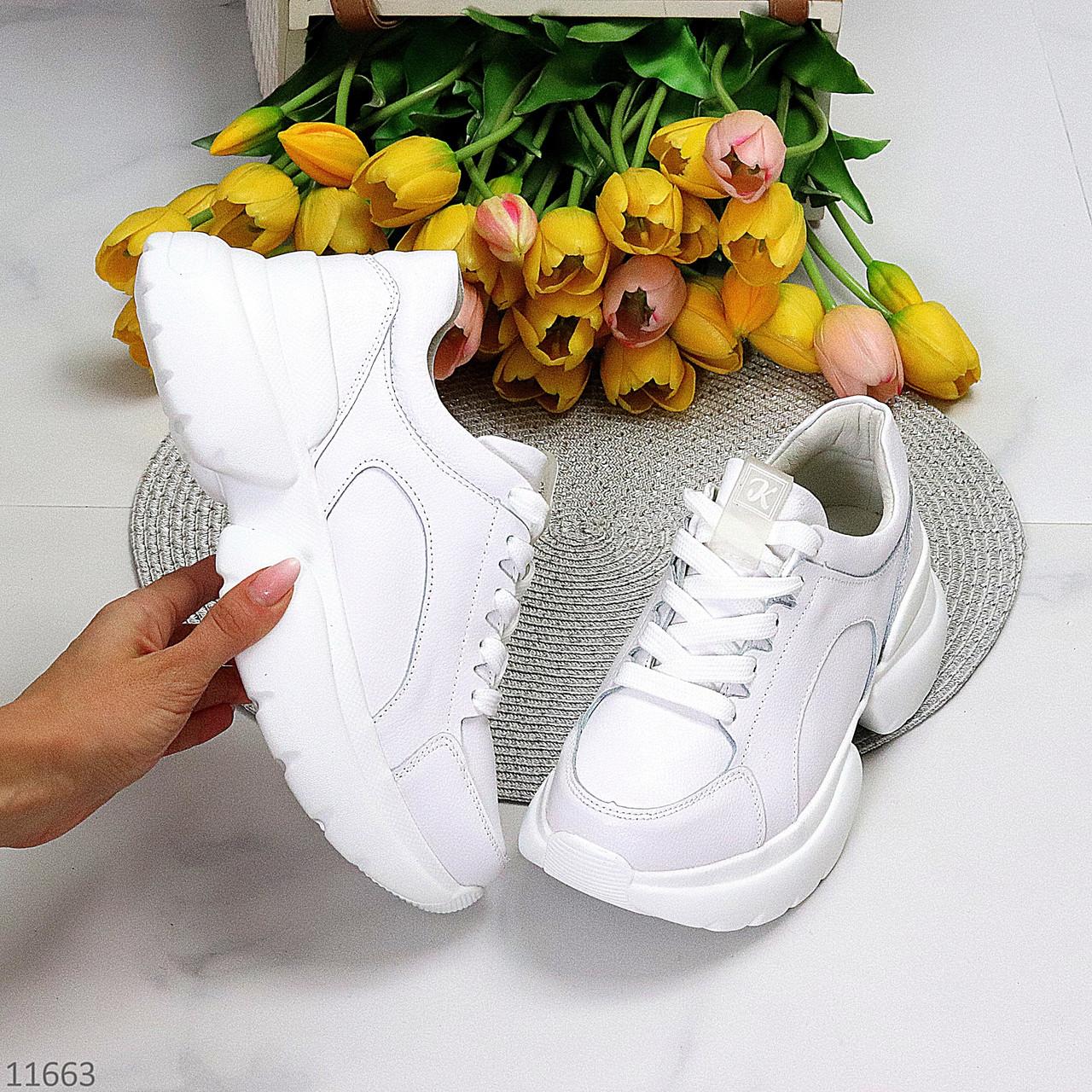 Зручні шкіряні білі кросівки жіночі молодіжні натуральна шкіра