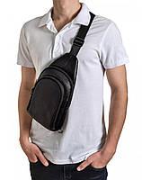 Чоловіча сумка-слінг з натуральної шкіри TidinBag чорна - MK92746, фото 3