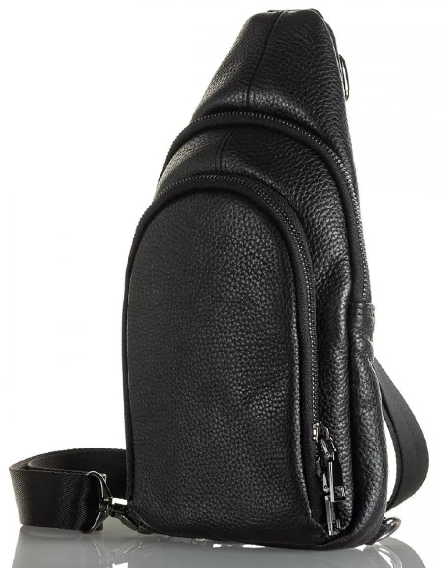 Чоловіча сумка-слінг з натуральної шкіри TidinBag чорна - MK92746