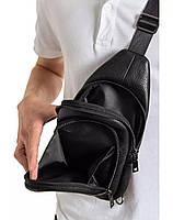 Чоловіча сумка-слінг з натуральної шкіри TidinBag чорна - MK92746, фото 5