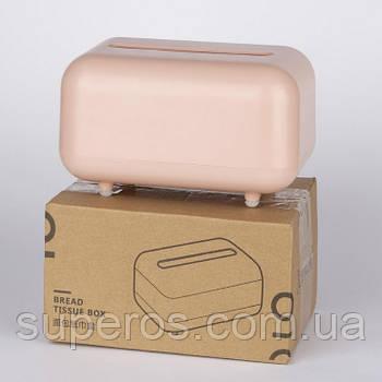 Бокс диспенсер для серветок Bread Tissue Box рожевий (22044)
