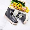 Модные женские темно серые зимние ботинки угги на шнуровке зима 2021, фото 6