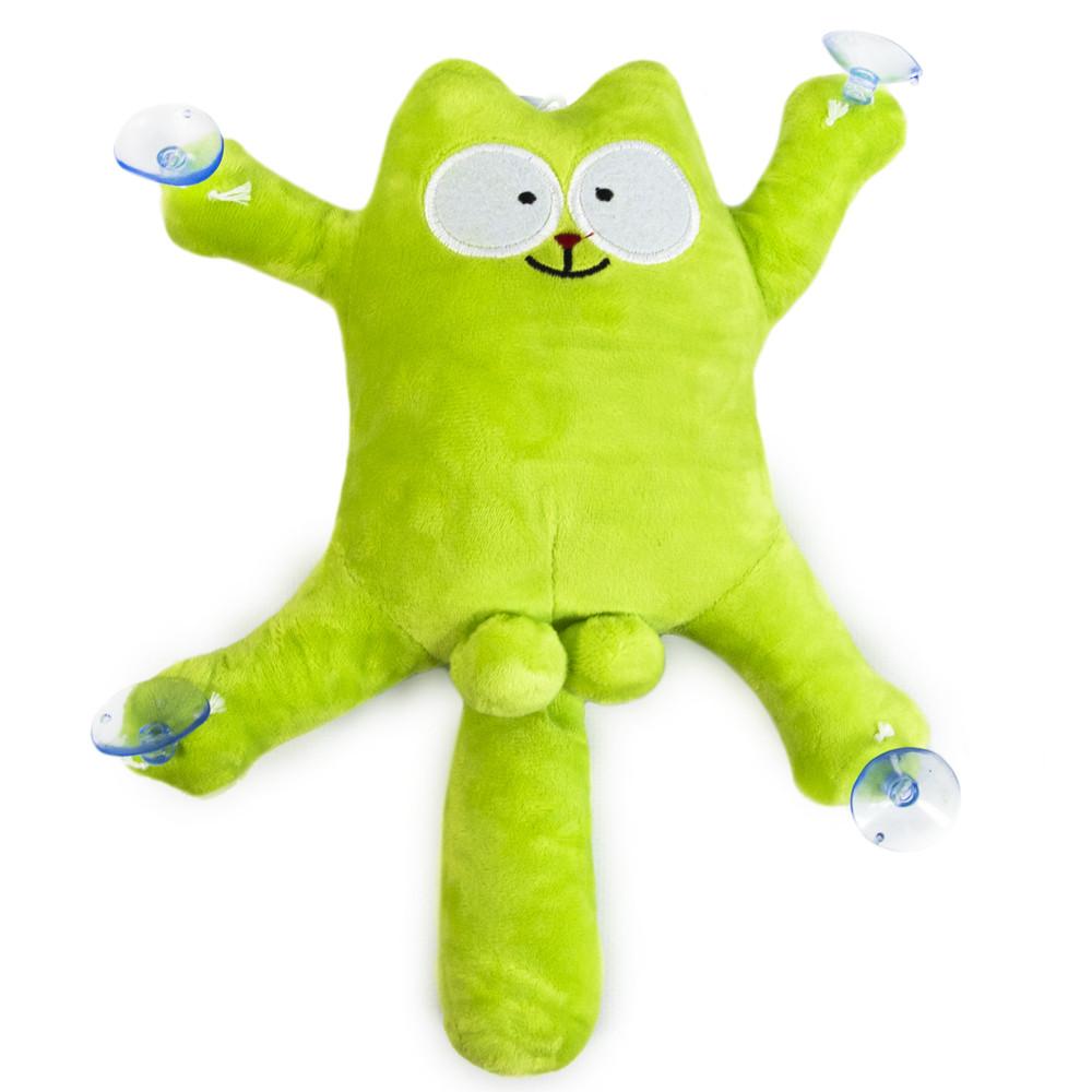 """""""Кот Саймон"""" в машину на присосках, Зелёный, мягкая игрушка в машину кот с яйцами   іграшка кіт (TS)"""