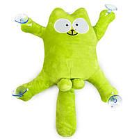 """""""Кот Саймон"""" в машину на присосках, Зелёный, мягкая игрушка в машину кот с яйцами   іграшка кіт (TS), фото 1"""