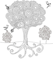 Обои-раскраски Дерево 60*60 см