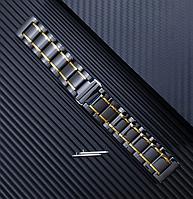Браслет для часов керамический. Черный с золотистыми вставками. 20 мм