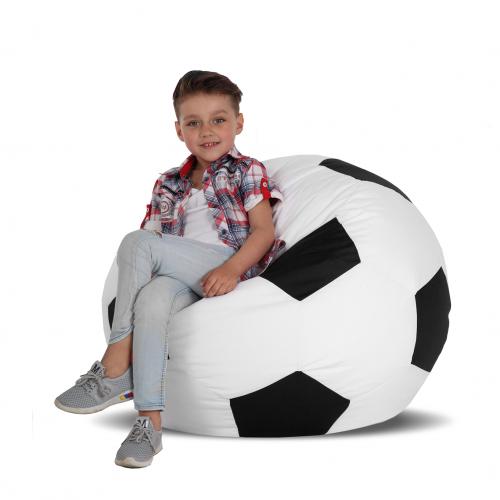 Кресло-мяч детский Белый с черным 70х70. Бескаркасное кресло, детское кресло-мешок, пуф детский