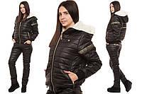 Зимний женский спортивный костюм с мехом черный