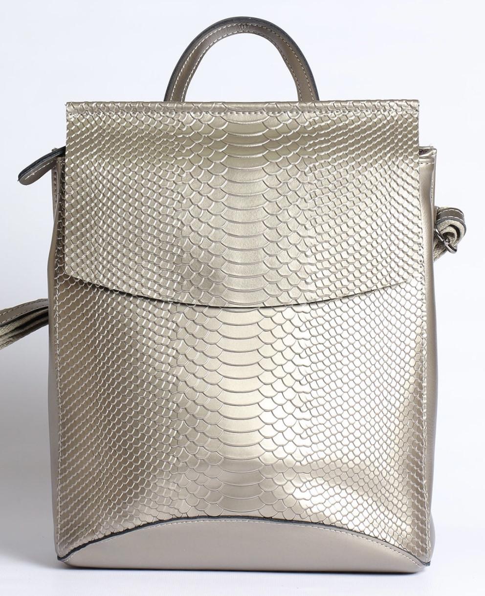 Жіночий сріблястий рюкзак-сумка з натуральної шкіри під зміїну шкіру з клапаном Tiding Bag - 98790