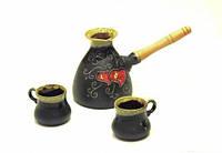 Набір великий кавовий Серце чорний, фото 1