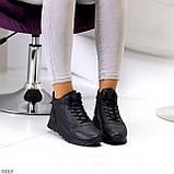 Універсальні високі чорні жіночі кросівки на флісі осінь 2021, фото 2