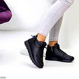 Універсальні високі чорні жіночі кросівки на флісі осінь 2021, фото 3