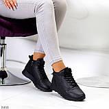 Універсальні високі чорні жіночі кросівки на флісі осінь 2021, фото 4