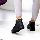 Універсальні високі чорні жіночі кросівки на флісі осінь 2021, фото 5