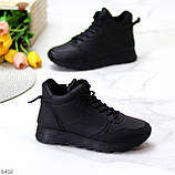 Універсальні високі чорні жіночі кросівки на флісі осінь 2021, фото 7