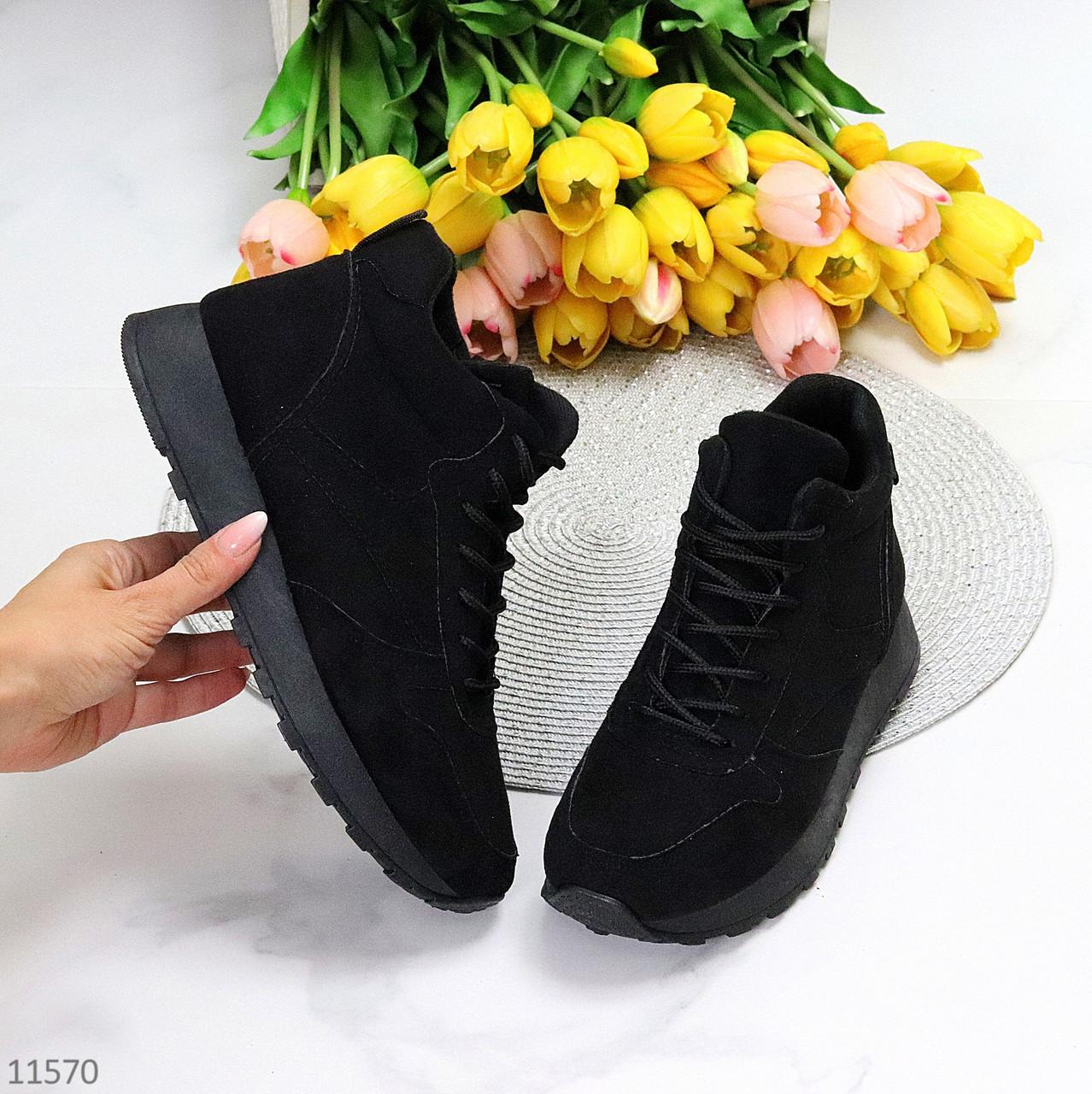 Универсальные высокие черные замшевые женские кроссовки на флисе осень 2021