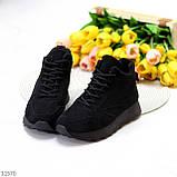 Универсальные высокие черные замшевые женские кроссовки на флисе осень 2021, фото 2