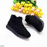 Универсальные высокие черные замшевые женские кроссовки на флисе осень 2021, фото 3