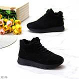 Универсальные высокие черные замшевые женские кроссовки на флисе осень 2021, фото 4