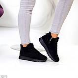 Универсальные высокие черные замшевые женские кроссовки на флисе осень 2021, фото 5