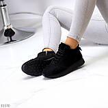 Универсальные высокие черные замшевые женские кроссовки на флисе осень 2021, фото 7