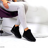 Универсальные высокие черные замшевые женские кроссовки на флисе осень 2021, фото 8
