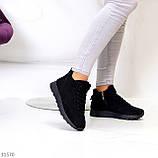 Универсальные высокие черные замшевые женские кроссовки на флисе осень 2021, фото 9