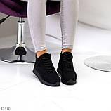 Универсальные высокие черные замшевые женские кроссовки на флисе осень 2021, фото 10