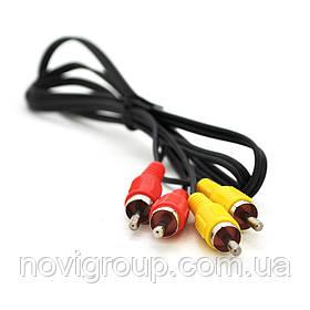 Кабель Audio-Video 2хRCA (тато) => 2хRCA (тато), CCA, круглий, Black, 1,0 м, (Пакет)