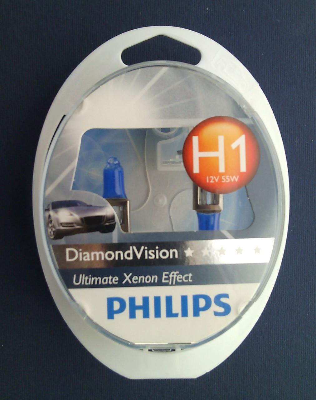 Автолампы PHILIPS DiamondVision 12258 H1 55W 12W  5000К (комплект 2шт)