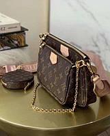 Копии брендовых сумок для девушек Louis Vuitton Multi Pochette 3в1 Люкс в коробке модные новинки, фото 1