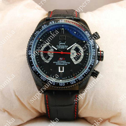 Стильные наручные часы Tag Heuer Grand Carrera Calibre17 Black 2101